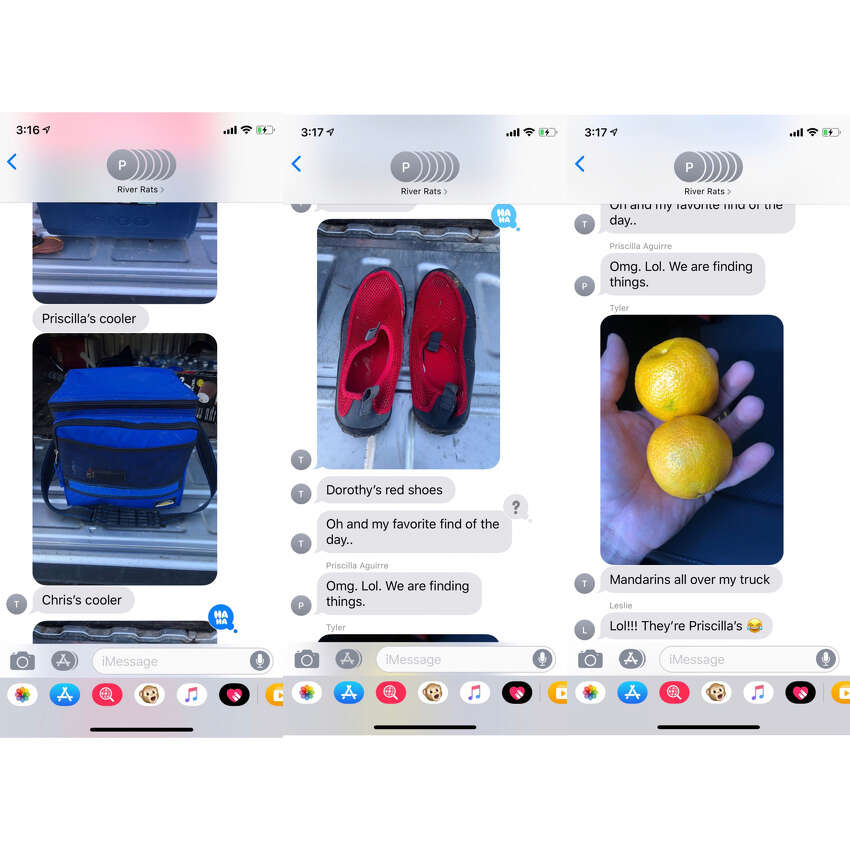 Sometimes your shoes, sunglasses, coolers, snacks, etc. aren't truly lost. They're just stowed away in someone's car and will show up at some point during the week and your group chat will look like this.