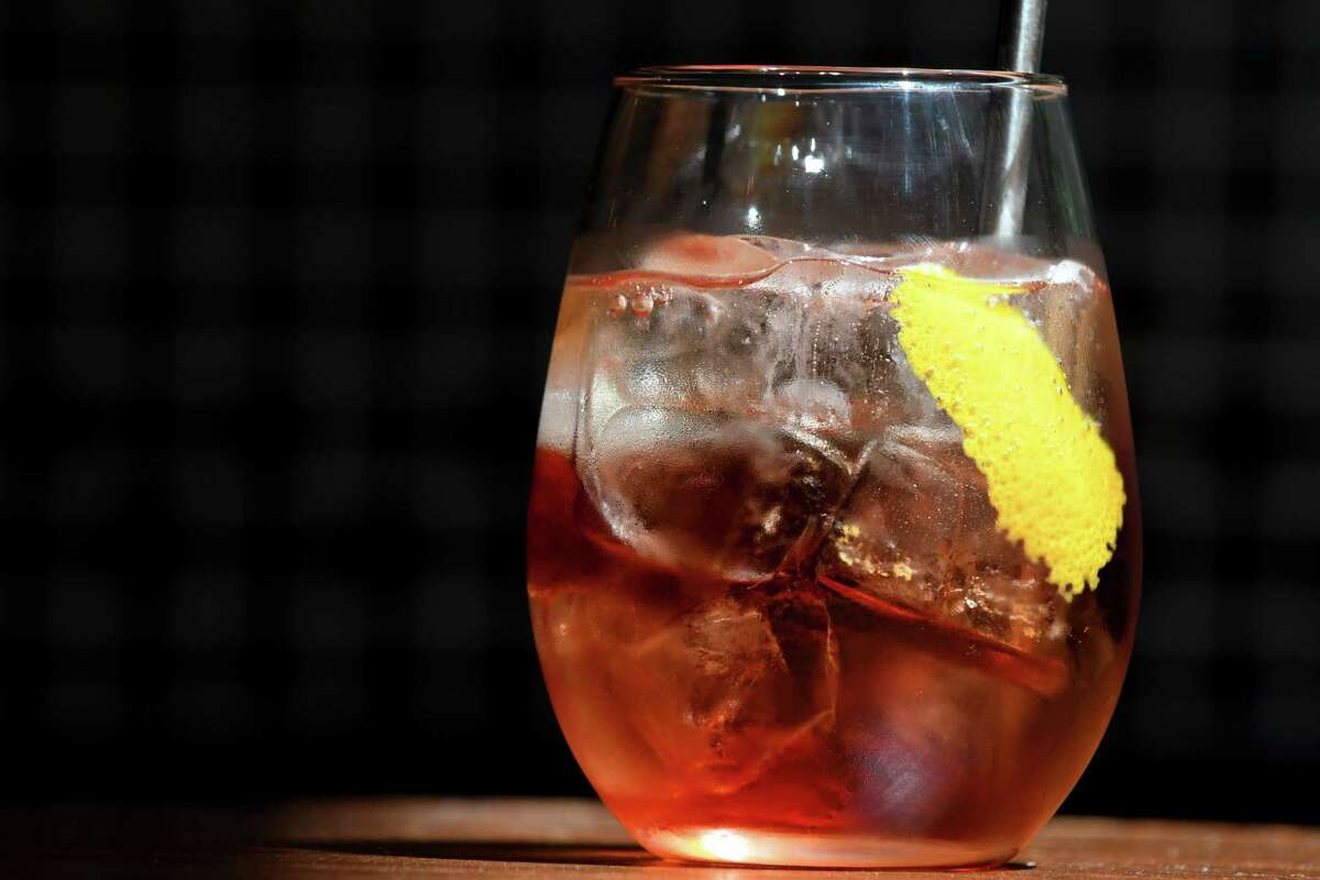 Spritz cocktail from Oak Pizzeria; Cocchi Rosa, Martelletti vermouth, orange peel and Sicilian brut on Thursday, June 27, 2019, in Hudson, N.Y. (Will Waldron/Times Union)