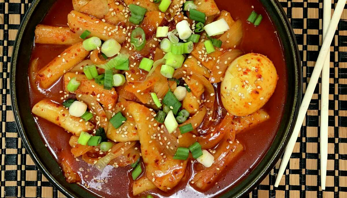 An order of tteok-bokki from Cypress Cafe, which is located in teh basement of Cypress Tower at 1222 N. Main St.