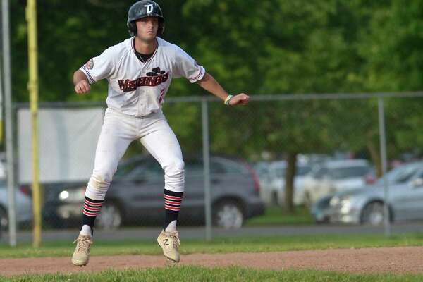 Matt Zaffino (2) , from Hamilton College, takes a lead off of first base during the Danbury Westerners game with the Mystic Schooners, Tuesday night. July 2, 2019, in Danbury, Conn.