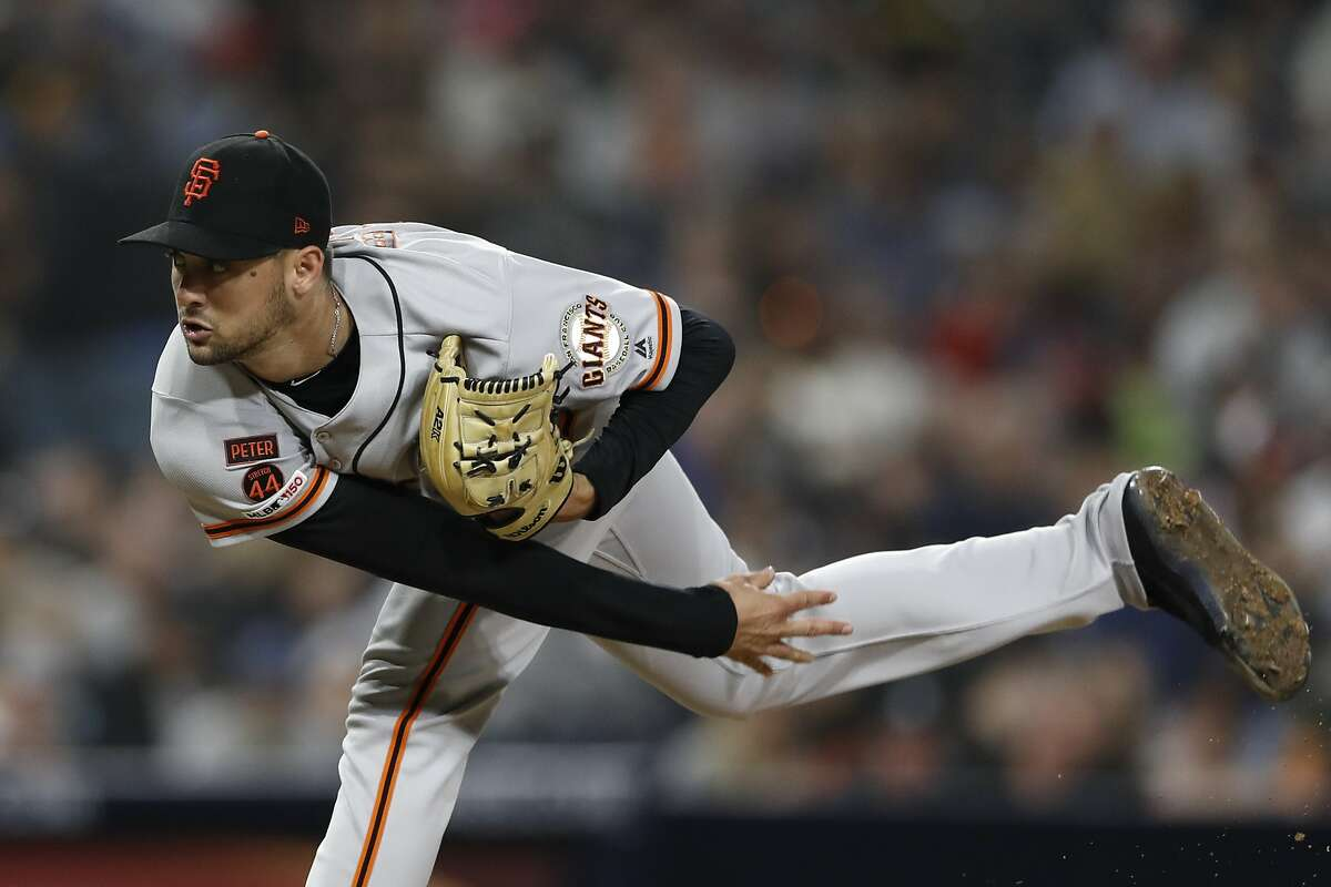 San Francisco Giants starting pitcher Tyler Beede works against a San Diego Padres batter during the seventh inning of a baseball game Tuesday, July 2, 2019, in San Diego. (AP Photo/Gregory Bull)