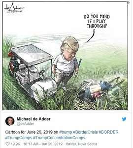 Cartoonist Michael de Adder says he got fired for this editorial cartoon.