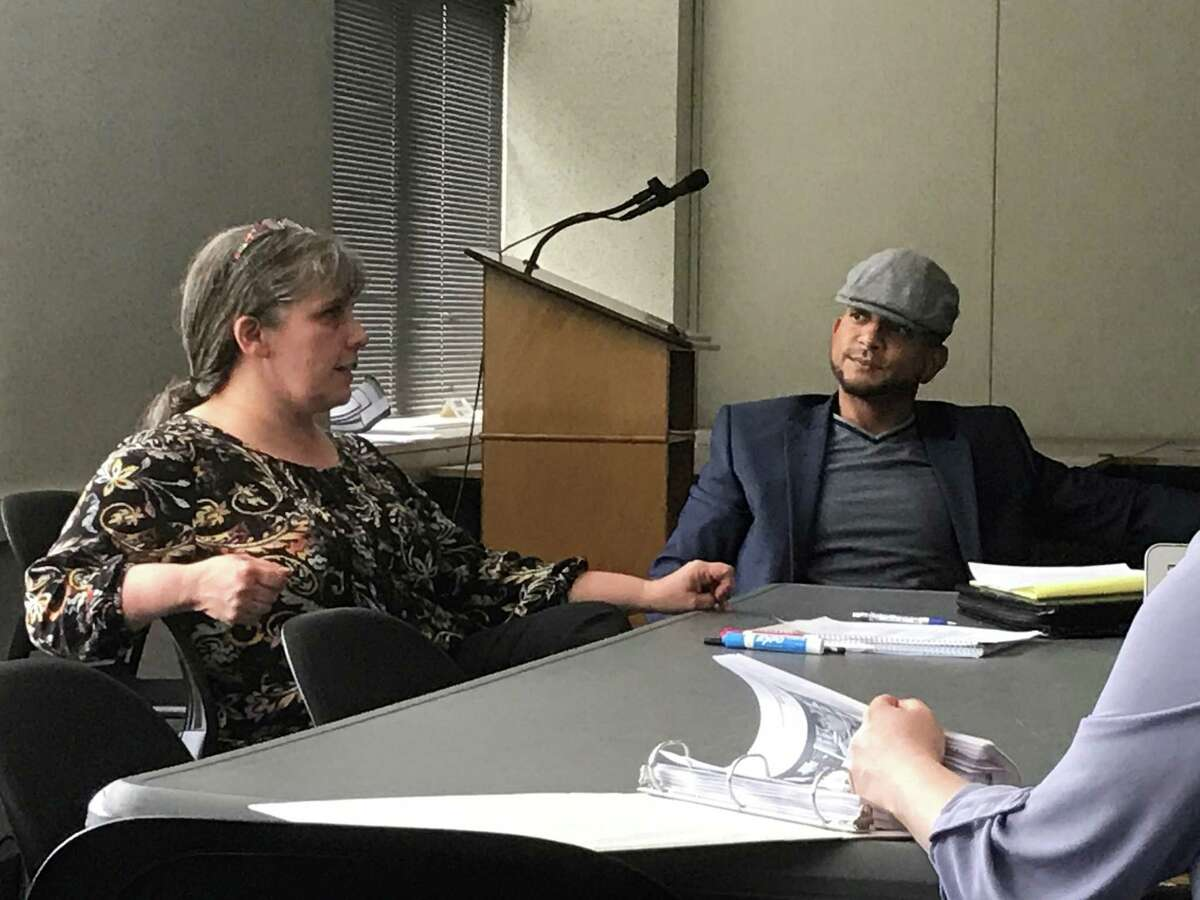 New Haven Board of Education Deficit Remediation Committee co-chairmen Jill Kelly and Jamell Cotto on June 17, 2019.