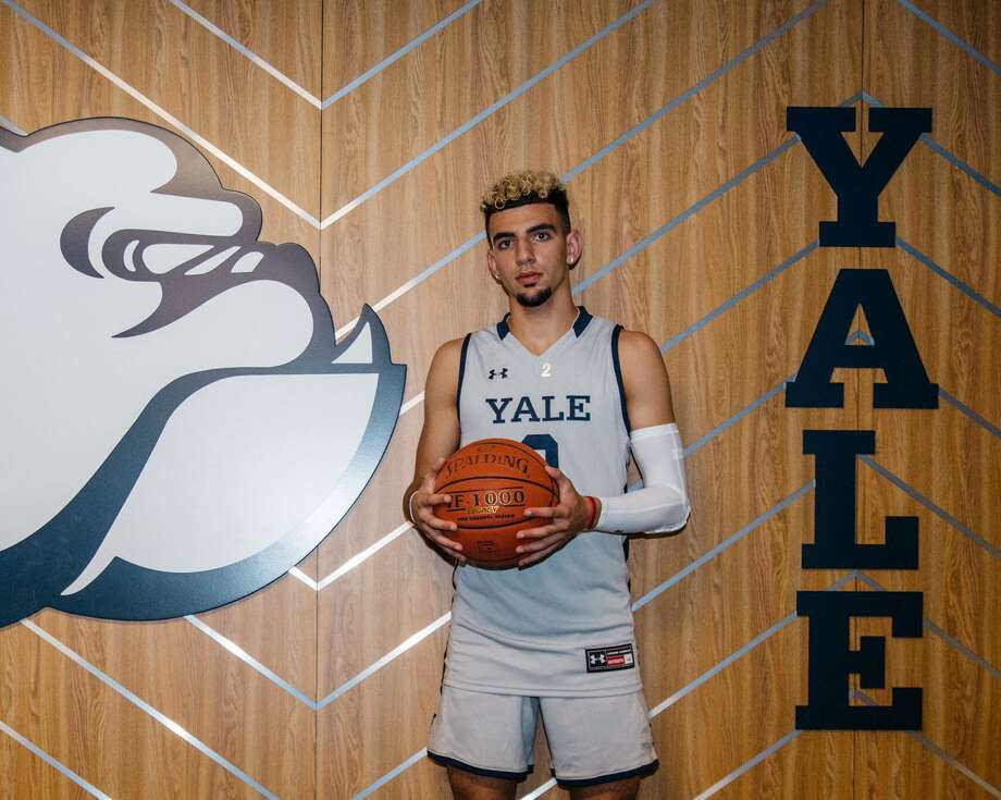 Yale recruit Yassine Gharram during a visit to the campus in April. Photo: Twitter / @yassinegharram1
