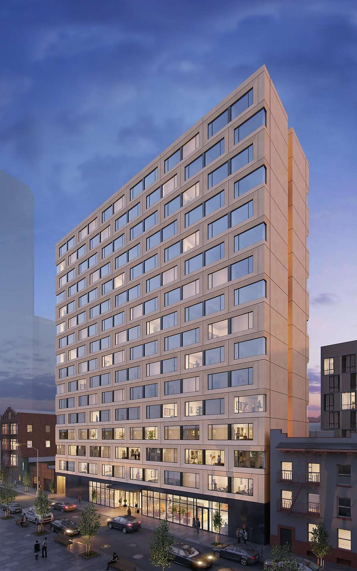 An artist's rendering depicts the view of the co-living structure under construction at 457 Minna Street in San Francisco, Calif.