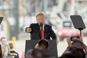 President Donald Trump speaks at Southwest Iowa Renewable Energy, an ethanol producer, in Council Bluffs, Iowa last month. Months after the Environmental Protection Agency, was expected to begin issuing exemptions from the most recent ethanol requirements, refineries are still waiting for word. The delay follows Trump's Iowa's visit.