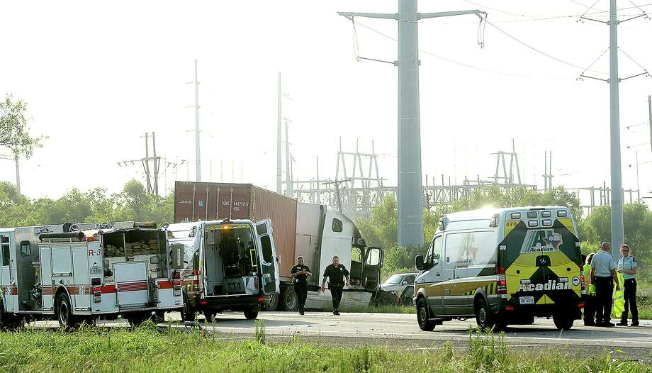 Westbound TX-73 is closed near the split with TX-82 as emergency crews work the scene of an accident involving a tractor trailer which caught on fire. Two injured persons were taken for treatment, and a third was fatality injured in the incident. Photo taken Wednesday, July 3, 2019 Kim Brent/The Enterprise Photo: Kim Brent / The Enterprise / BEN
