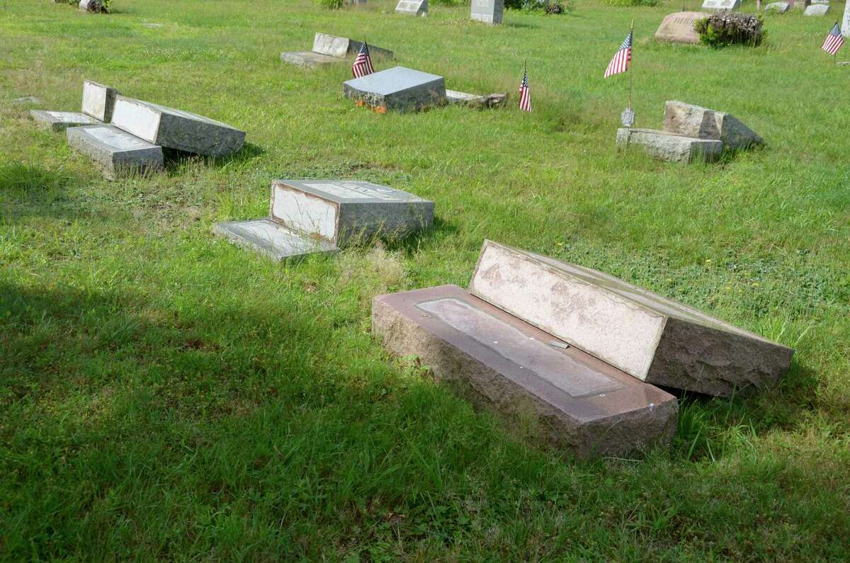 Headstones were knocked over at Kings Highway Cemetery in Milford last week as well as at nearby Milford Cemetery.
