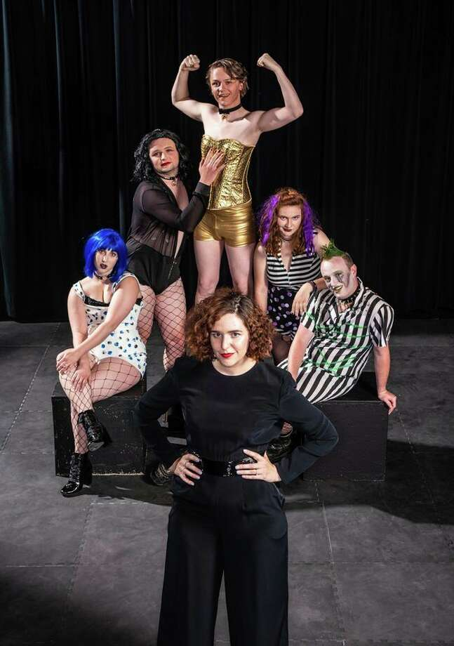 Saginaw Valley State University student Jessica Hurley, foreground, a theater major from Essexville, is shown with several cast members during a rehearsal for 'The Rocky Horror Picture Show' at SVSU. Hurley is producing a local production of the play. The play will be shown at SVSU July 10-14. (Mike Randolph, SVSU)