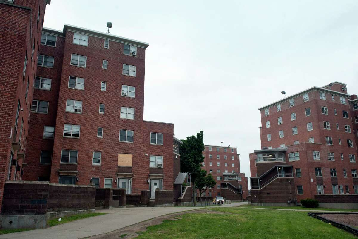 FILE PHOTO: The Charles F. Greene Homes, part of the Bridgeport Housing Authority, in Bridgeport, Conn.