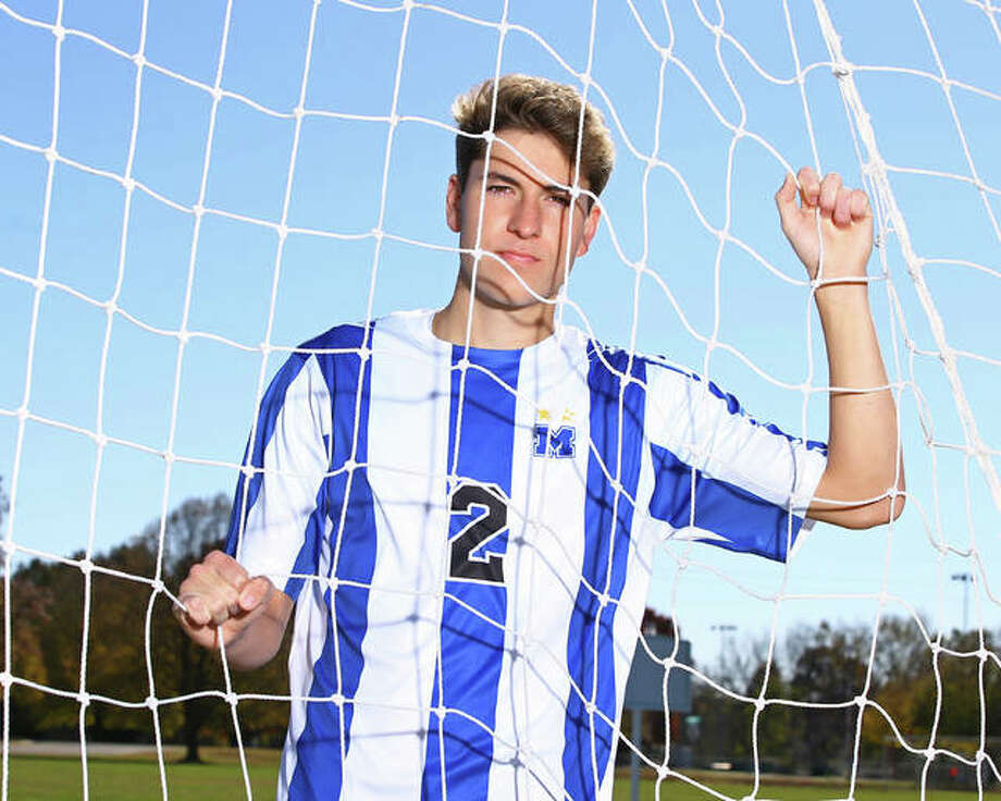 Marquette Catholic's Chris Hartrich is the 2018 Telegraph Small-Schools Boys Soccer Player of the Year for the second consecutive season. He recorded 19 goals and 14 assists for the Explorers and helped them to a 16-3-4 record. Photo: Billy Hurst | For The Telegraph