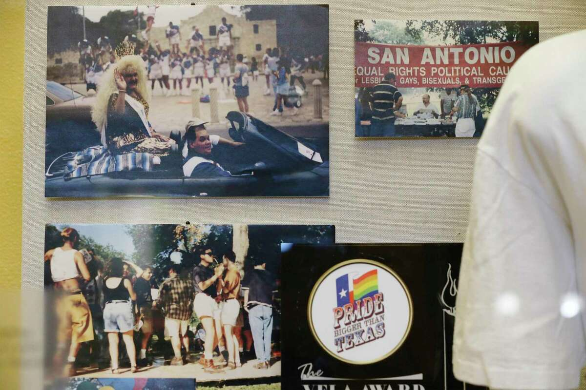 An exhibit of photos, memorabilia and literature is on display at the San Antonio Central Library called 'Out and Proud in San Antonio: Pride Celebrations Across the Years.' The exhibit of archival materials from the UTSA Special Collections runs through July. (Kin Man Hui/San Antonio Express-News)