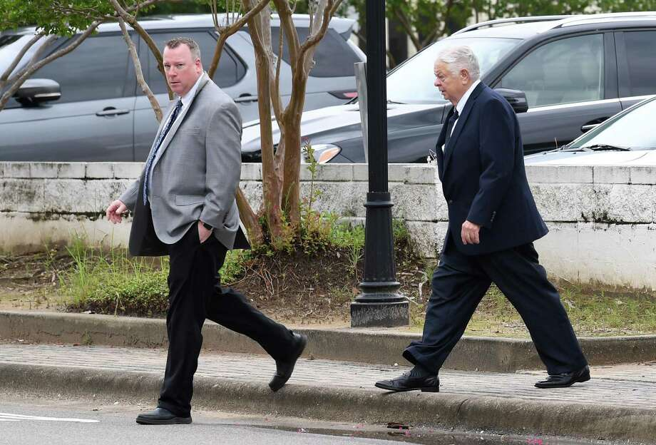From left, Brian Tillery and his father Larry Tillery walk into the Federal Courthouse in Beaumont on Tuesday. Photo taken Tuesday, 6/25/19 Photo: Guiseppe Barranco/The Enterprise, Photo Editor / Guiseppe Barranco ©