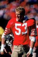 Linebacker Milt McColl of the 49ers plays against the New Orleans Saints at Candlestick Park in 1986. The 49ers won 26-17.