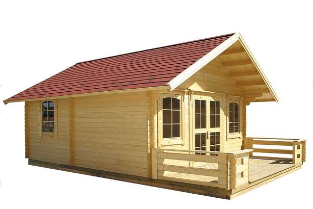 """This is one of the tiny homes for sale on Amazon - a build-it-yourself kit for a """"getaway cabin."""""""