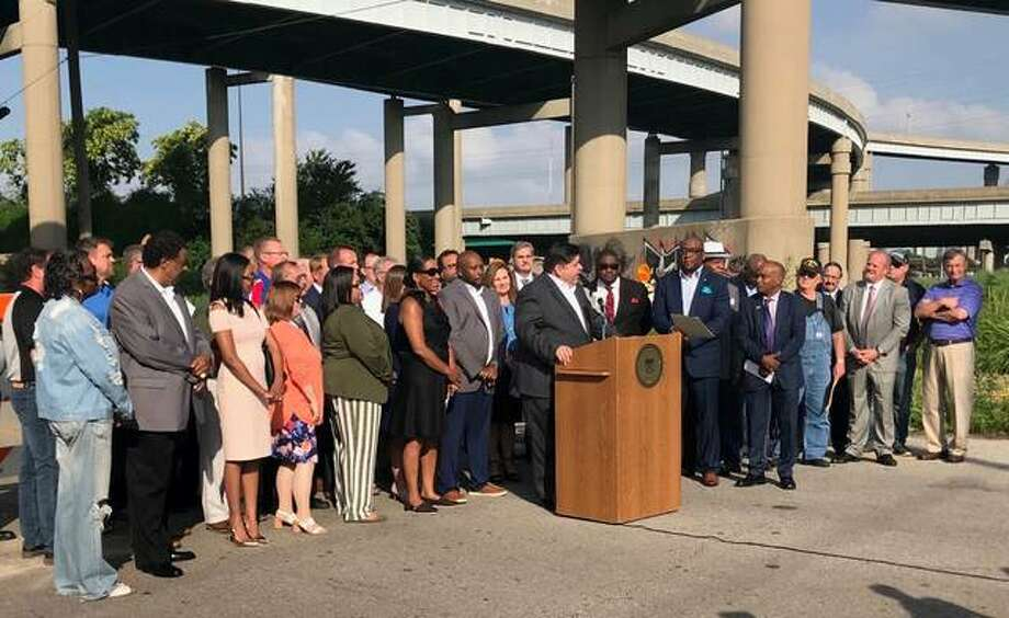 Area legislators and state officials met in East St. Louis to highlight the impact Rebuild Illinois capital plan will have across the Metro East region.