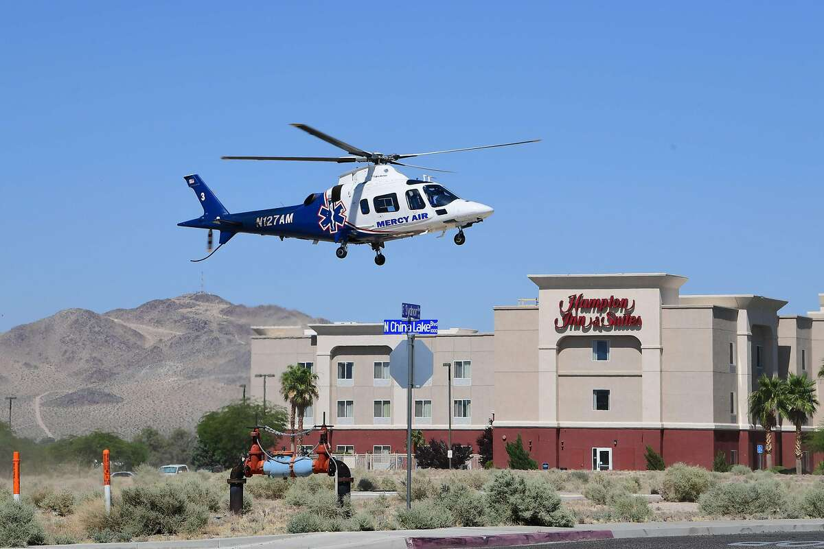 A medical helicopter flies overhead in Ridgecrest, California, on July 4, 2019. - A 6.4 magnitude earthquake hit Southern California on July 4 at 10:33 am (17:33 GMT) near the Searles Valley in San Bernardino County, the United States Geological Survey said. (Photo by FREDERIC J. BROWN / AFP)FREDERIC J. BROWN/AFP/Getty Images