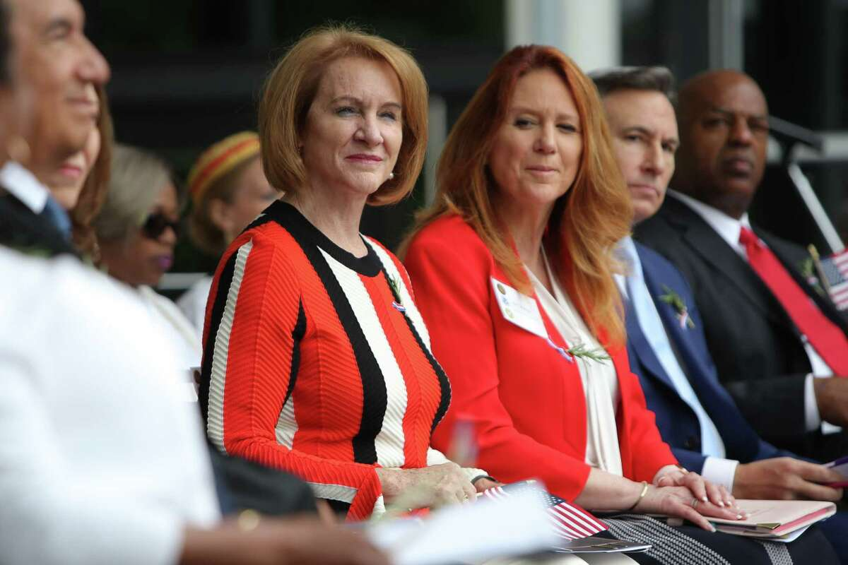 A Republican among Democrats. Secretary of State Kim Wyman (center) joins Seattle Mayor Jenny Durkan, left, and King County Executive Dow Constantine (r) on the dias as 503 people from 80 different countries become American citizens during the Independence Day Naturalization Ceremony at Seattle Center, Thursday, July 4, 2019.
