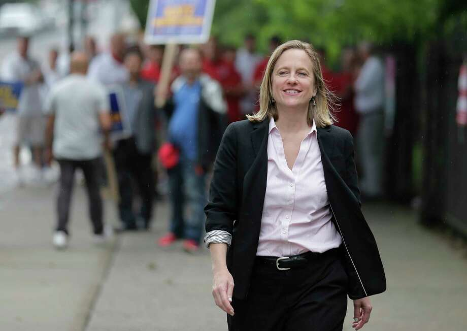Queens Borough President and candidate for district attorney Melinda Katz arrives at her polling place to vote in the Queens borough of New York, Tuesday, June 25, 2019. The race for district attorney of the New York City borough of Queens is shaping up as a battle between moderate Democrats and the left wing of the party. The winner will be strongly favored to win a November general election to succeed the late District Attorney Richard Brown. (AP Photo/Seth Wenig) Photo: Seth Wenig / Copyright 2019 The Associated Press. All rights reserved.