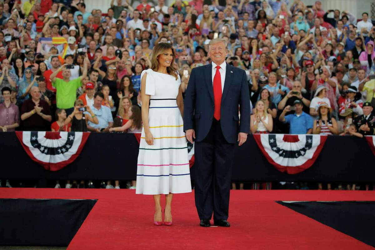 President Donald Trump and first lady Melania Trump arrive at an Independence Day celebration in front of the Lincoln Memorial, Thursday, July 4, 2019, in Washington. (AP Photo/Carolyn Kaster)