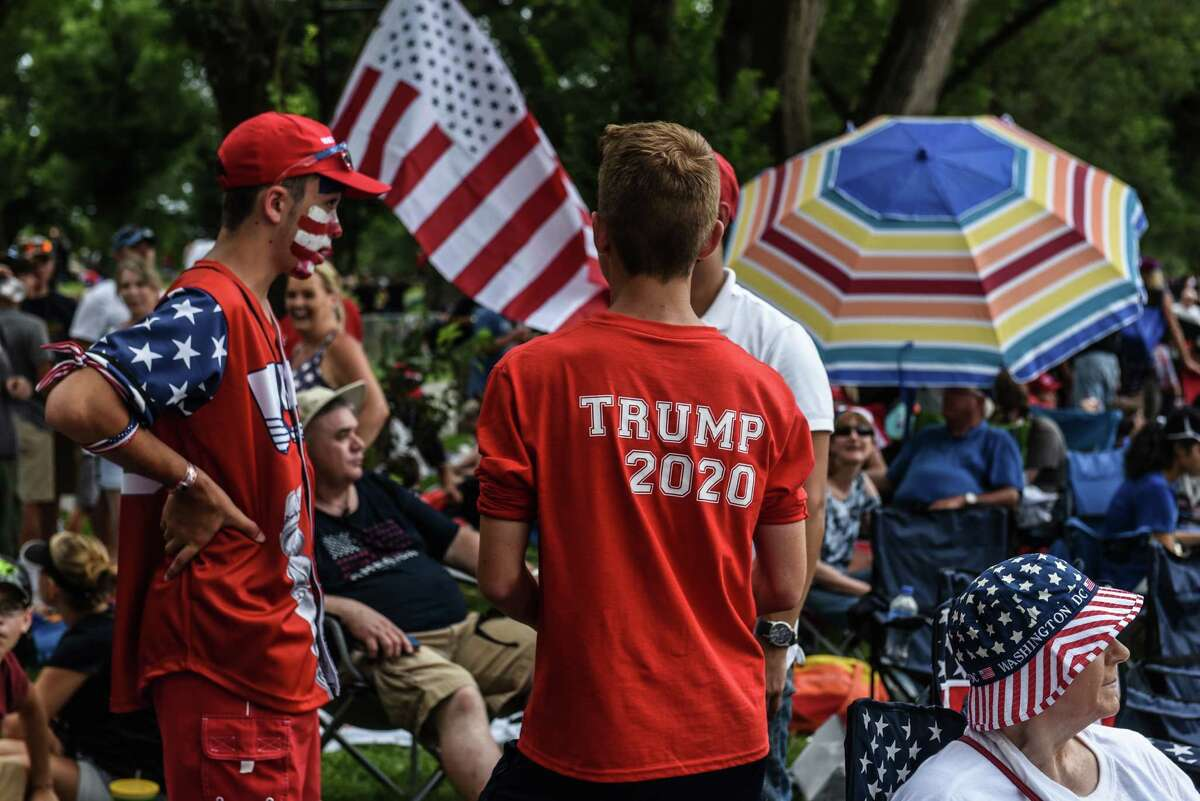 WASHINGTON, DC - JULY 04: People gather on the National Mall ahead of President Trump's speech during Fourth of July festivities on July 4, 2019 in Washington, DC. President Trump is holding a