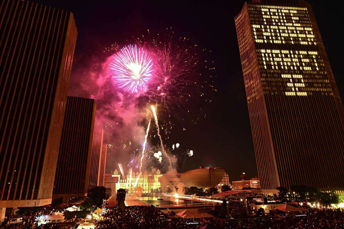 After canceling last summer's display because of the coronavirus, New York state says this year's fireworks show at the Empire State Plaza will go forward on July 4. This photo shows the celebration when the state and sponsorPrice Chopper/Market 32 presented the 44th annual Independence Day celebration with fireworks at the Empire State Plaza on July 4, 2019 in Albany. (Lori Van Buren/Times Union)