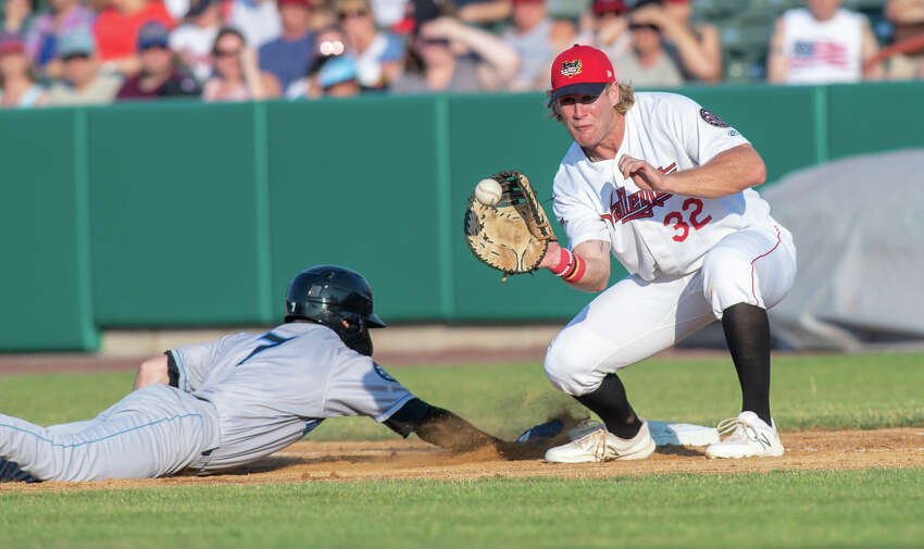 Tri-City ValleyCats first basemen Zach Biermann waits for the ball as Nick Sogard, of the Hudson Valley Renegades, dives back into first at Joseph L. Bruno Stadium on Thursday, July 4, 2019 (Jim Franco/Special to the Times Union.)