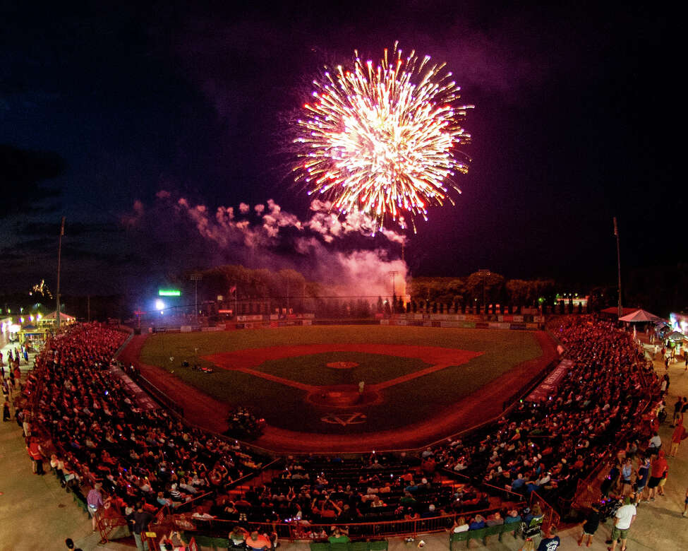 Fireworks at the Joseph L. Bruno stadium after the Tri-City ValleyCats game against the Hudson Valley Renegades on Thursday, July 4, 2019 (Jim Franco/Special to the Times Union.)