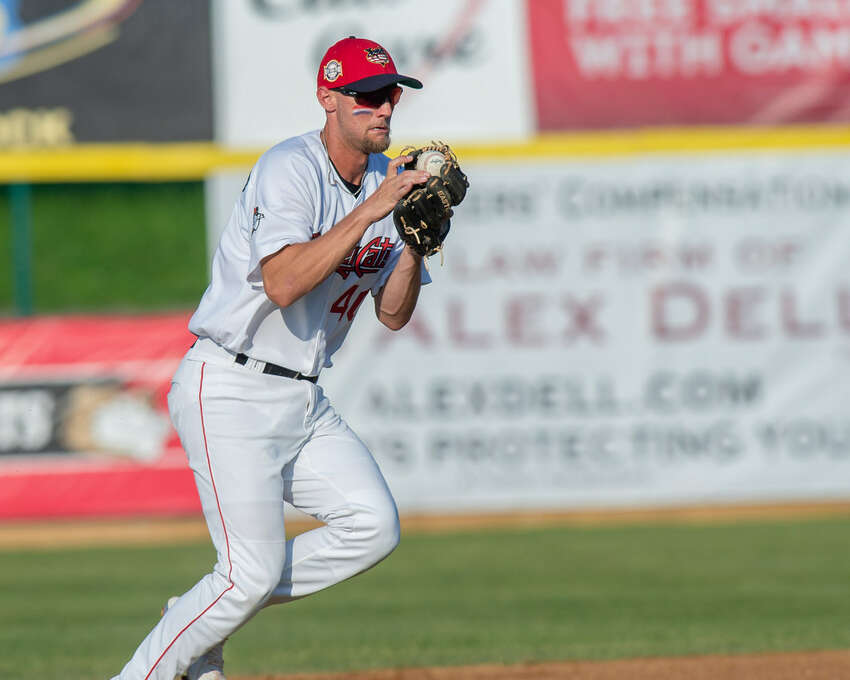 Tri-City ValleyCats shortstop Grae Kessinger was pulled from the game after the top of the first inning against Hudson Valley at Bruno Stadium on July 4, 2019. Kessinger learned he'd been promoted to Quad Cities. (Jim Franco/Special to the Times Union)