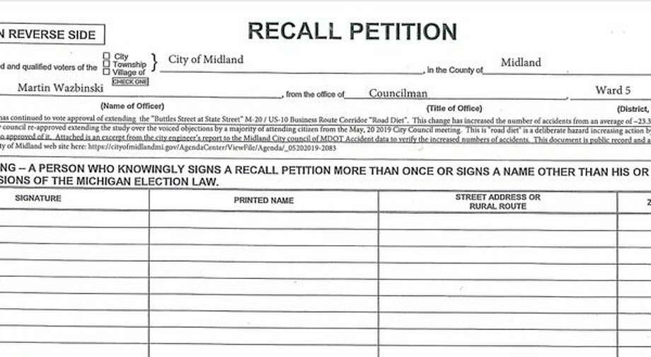 The recall petition for Councilman Marty Wazbinski of Ward 5, submitted by a Midland resident.