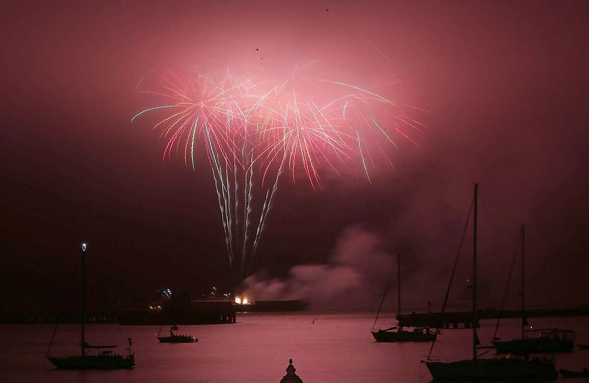Fourth of July fireworks explode over the San Francisco Bay on Thursday, July 4, 2019 in San Francisco, Calif.