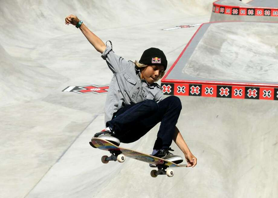 LOS ANGELES - JULY 30:  Fourteen year old amatuer Curren Caples performs during the Skateboard Park Elimination at the Event Deck at LA LIVE during X Games 16 on July 30, 2010 in Los Angeles, California. (Photo be Stephen Dunn/Getty Images) *** Local Caption *** Curren Caples Photo: Stephen Dunn, Getty Images / 2010 Getty Images