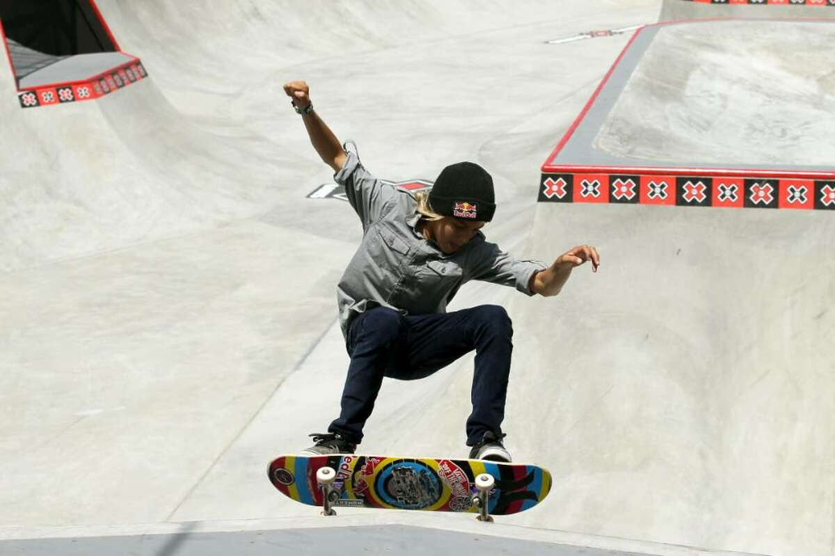 LOS ANGELES, CA - JULY 30: Fourteen year old amatuer Curren Caples performs during the Skateboard Park Elimination at the Event Deck at LA LIVE during X Games 16 on July 30, 2010 in Los Angeles, California. (Photo by Stephen Dunn/Getty Images) *** Local Caption *** Curren Caples
