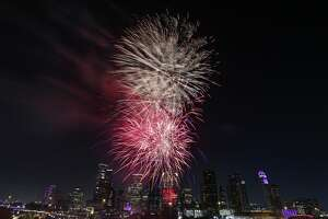 Fireworks shoot off in front of the Houston skyline for the CITGO Freedom Over Texas Thursday, July 4, 2019, in Houston.
