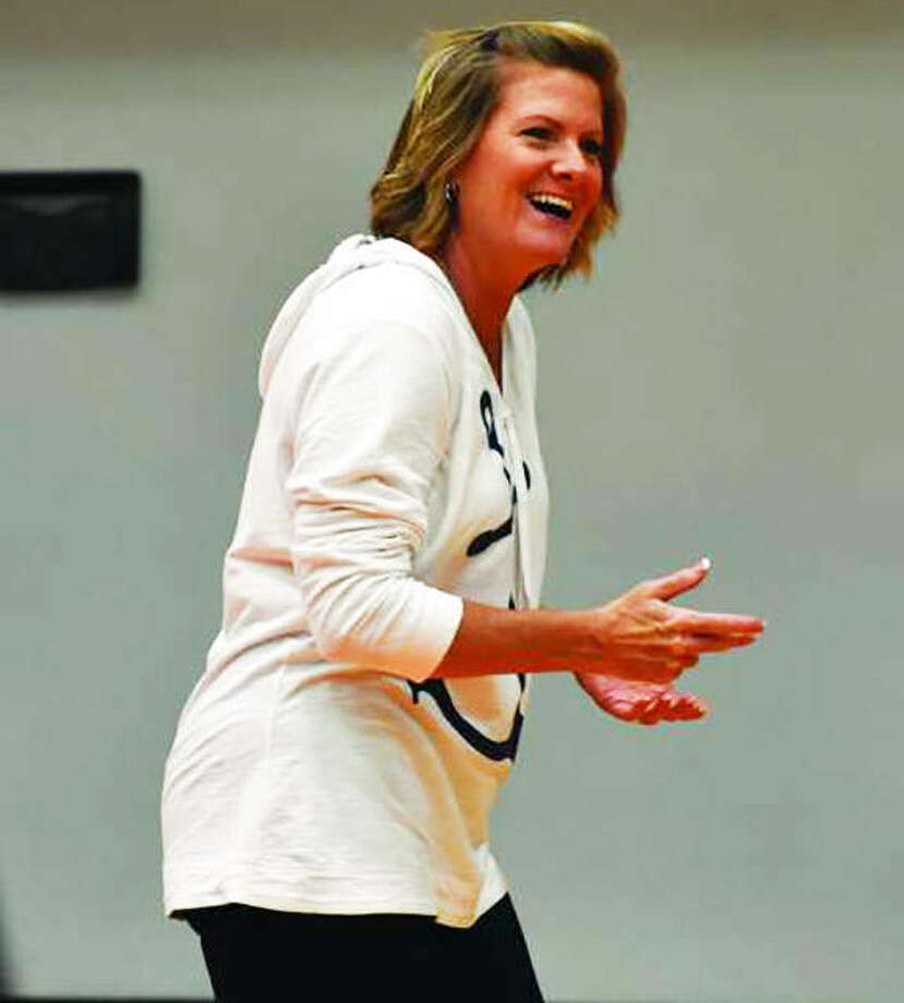 Edwardsville coach Lisa Orlet, shown during the second day of tryouts in her first season last August, is the 2018 Telegraph Large-Schools Volleyball Coach of the Year. Photo: Matt Kamp / Hearst Illinois