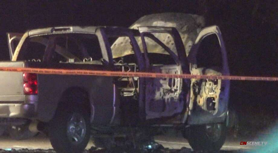 Harris County Sheriff's Office deputies respond to a road rage shooting that ignited fireworks inside a family's car late Thursday, July 4. The children inside the car, ages 1 and 2, were severely burned. Photo: OnScene TV