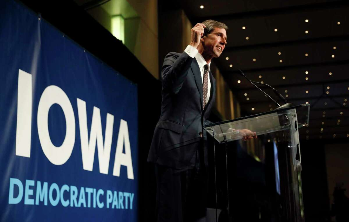 FILE - In this June 9, 2019 file photo, Democratic presidential candidate Beto O'Rourke speaks during the Iowa Democratic Party's Hall of Fame Celebration in Cedar Rapids, Iowa. Democratic presidential candidate Beto O'Rourke's father-in-law, William Sanders, is worth at least $500 million and has helped make the former Texas congressman and his wife millionaires. He donated to O'Rourke's bids for El Paso City Council, Congress, Senate and president. O'Rourke's campaign says Sanders plays absolutely no role. Still, O'Rourke, who is known as a champion of little-guy values, might never have made it on the national stage without the help of the intensely private tycoon.