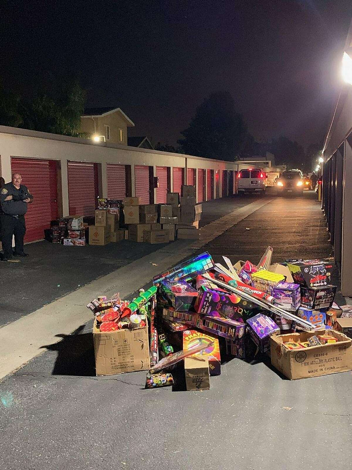 San Leandro police seized over a ton of fireworks from a self-storage facility on Tuesday, which included explosives that could shoot over 125 feet in the air.