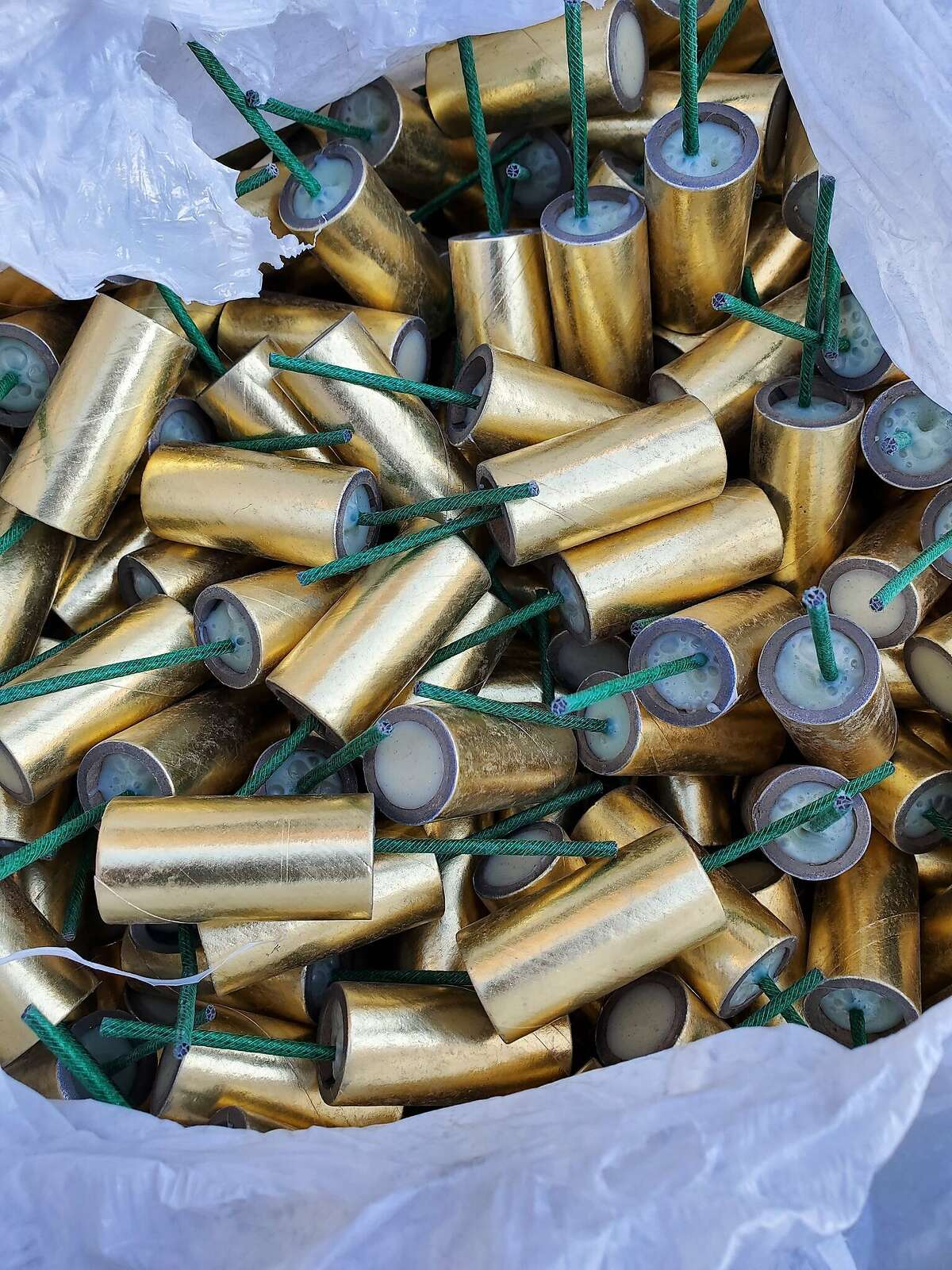 An unoccupied car near Washington Manor Park in San Leandro turned up hundreds of M-80 firecrackers on Thursday, officials said.