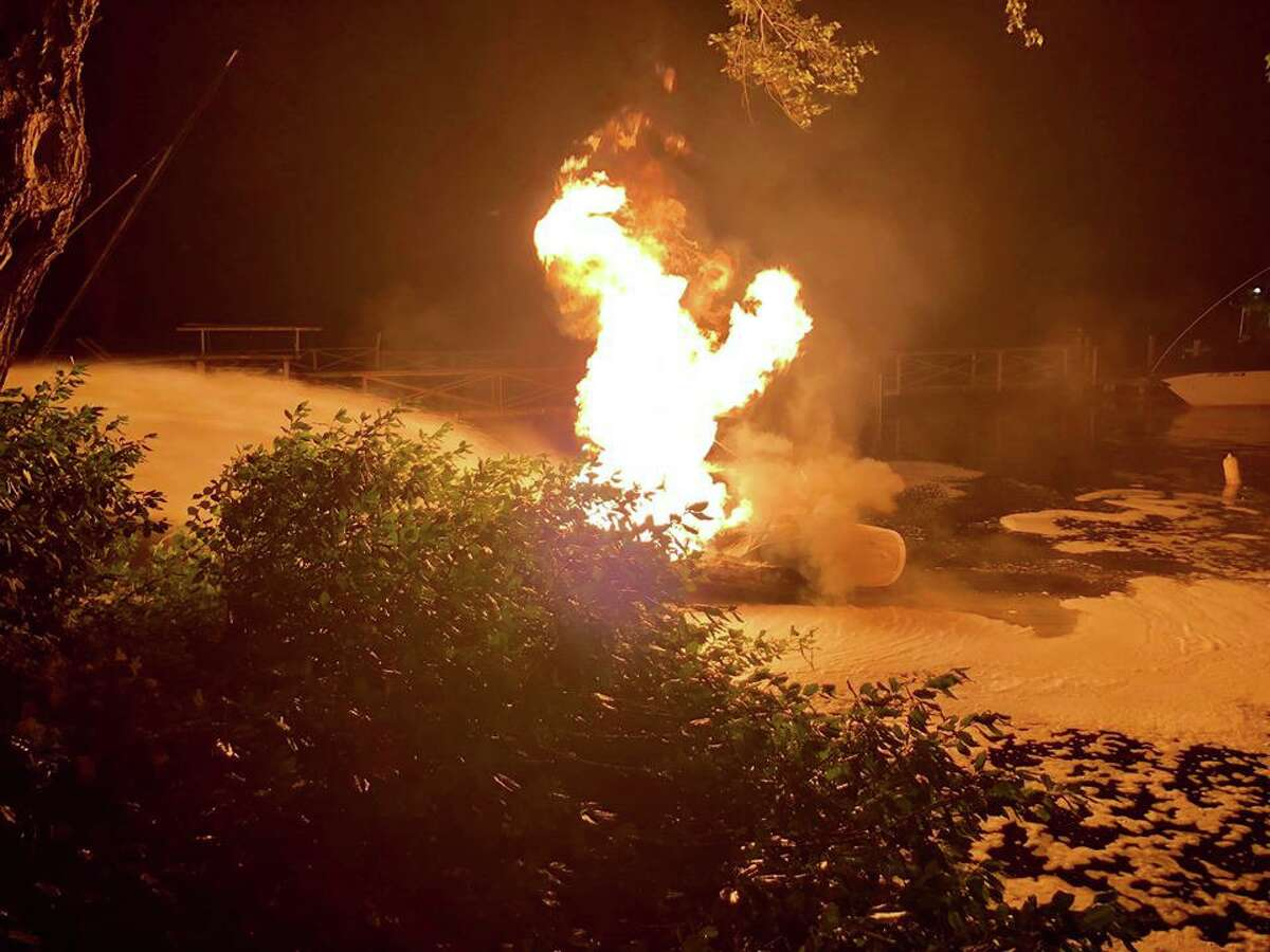 A boat caught fire on Candlewood Lake in Brookfield in the early morning hours of July 5, 2019.