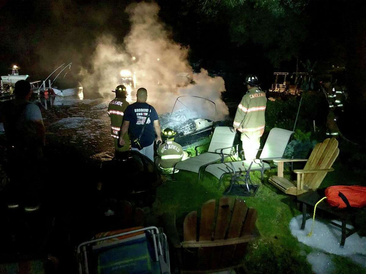 Firefighters responded to a boat fire on Candlewood Lake in Brookfield in the early morning hours of July 5, 2019.