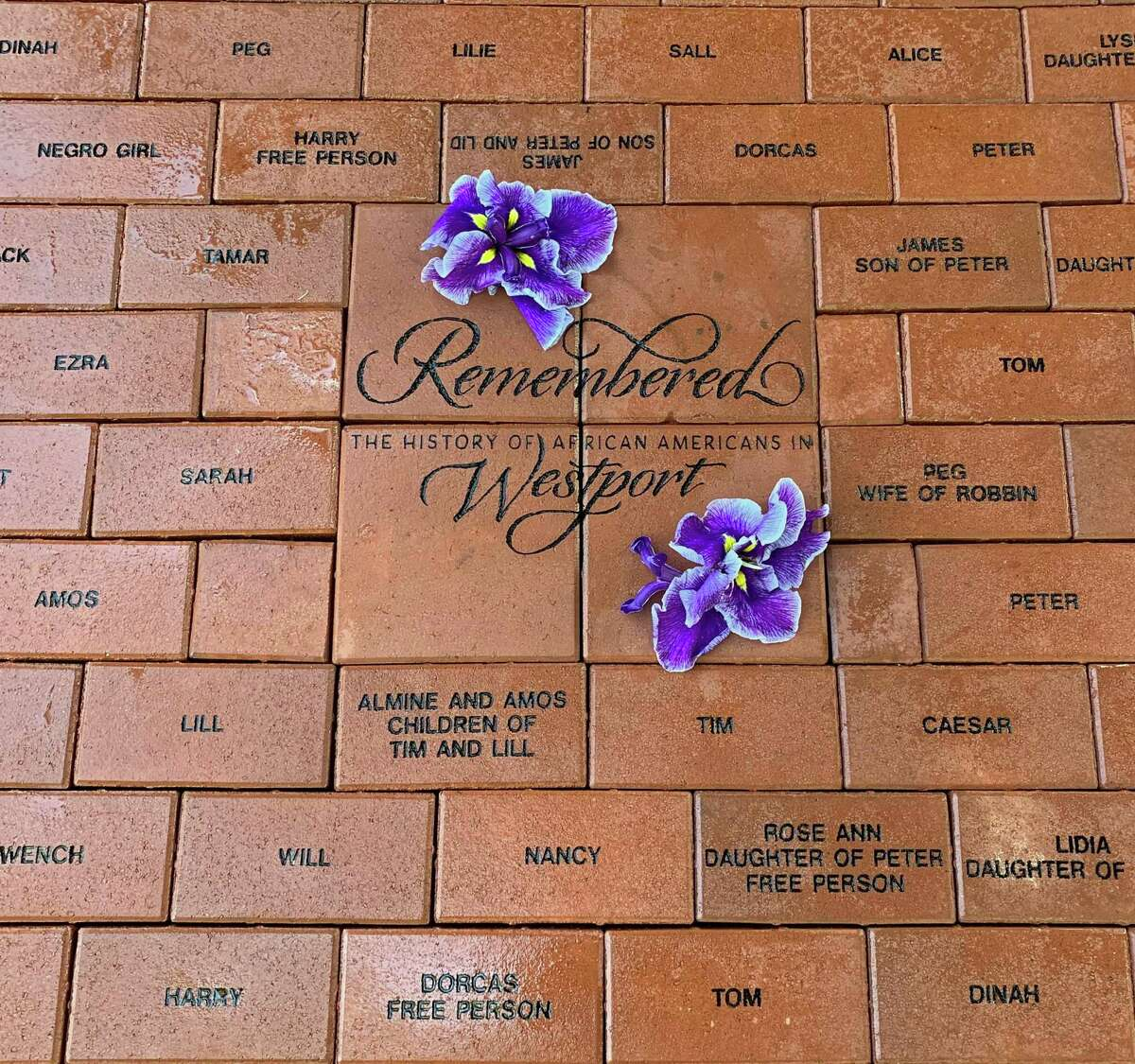 The Westport Historical Society placed bricks displaying the names of enslaved African Americans.