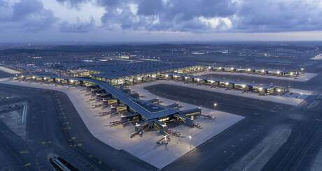 A drone photo shows the landing strips at Istanbul Airport as the majority of moving process comes to an end on April 6, 2019 in Istanbul, Turkey. The Istanbul Airport started serving international and domestic flights on Saturday after its mega move.