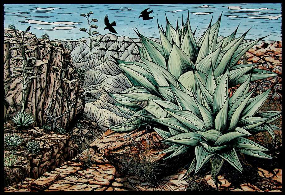 "Margie Crisp's hand-colored linocut ""Edge of the World"" is among works on view through Saturday in ""Texas Aesthetic XIII: Thirty Contemporary Artists Redefining Texas Art."" Photo: Courtesy Of The Artist / Foltz Fine Art"