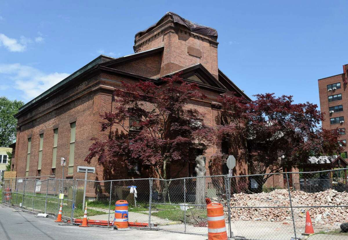Exterior of the the Watervliet Historical Society and Museum in the former North Reformed Dutch Church on Friday, July 5, 2019, on 15th Street in Watervliet, N.Y. The city had a $300,000 grant to transform the closed church into a community center. Now it has $150,000 after paying for an emergency demolition that lopped 20 feet off the bell tower. (Will Waldron/Times Union)