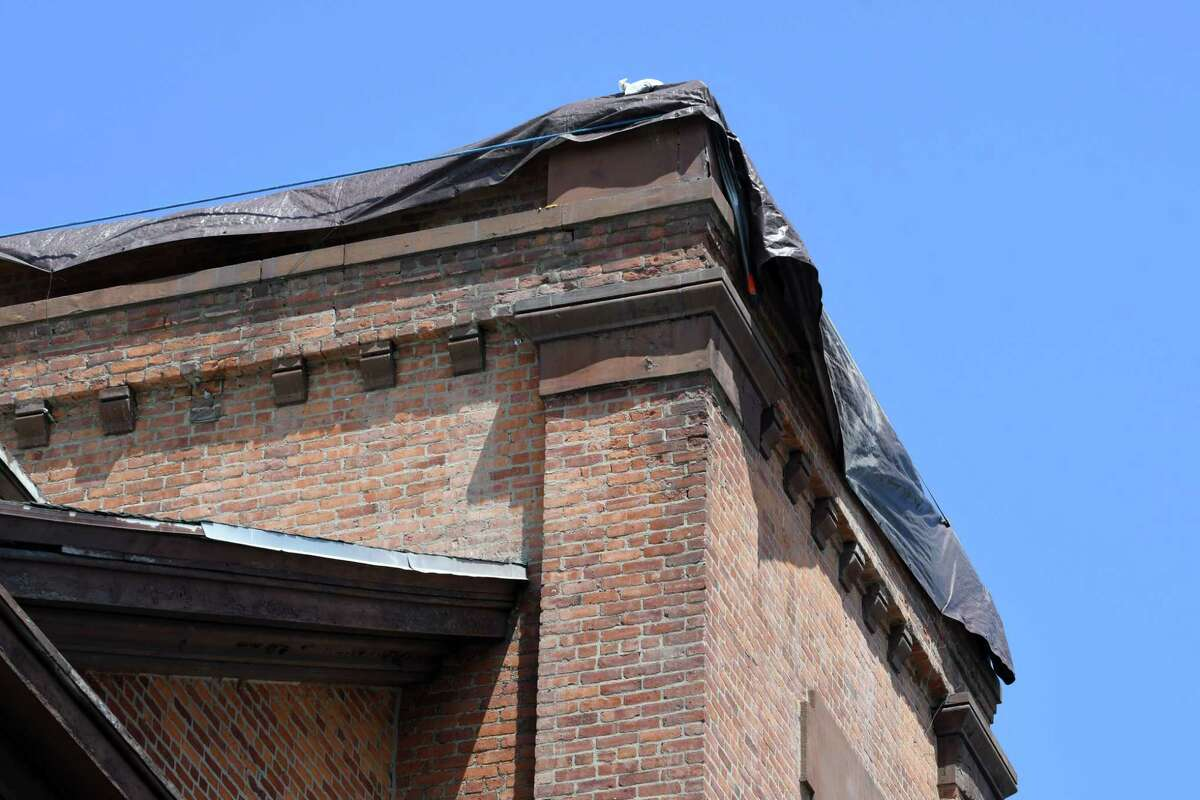 Remains of the Bell tower on the former North Reformed Dutch Church on Friday, July 5, 2019, on 15th Street in Watervliet, N.Y. The city had a $300,000 grant to transform the closed church into a community center. Now it has $150,000 after paying for an emergency demolition that lopped 20 feet off the bell tower. (Will Waldron/Times Union)