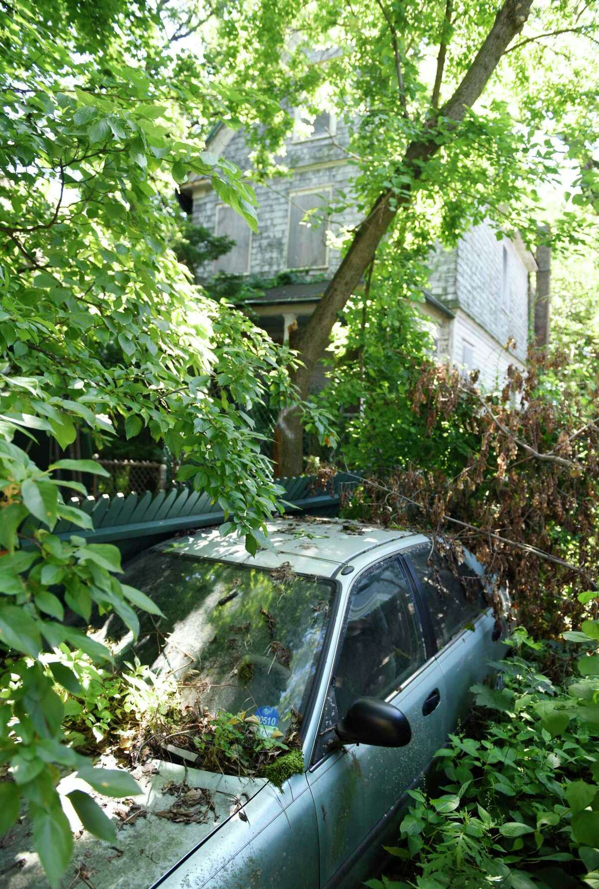 A blighted home on Mead Avenue in the Byram section of Greenwich, Conn., photographed on Wednesday, June 26, 2019. The back of the house has fallen down and trees and weeds have taken over the landscape, rendering the house unliveable. There have also been reports of rabid raccoons and other issues.
