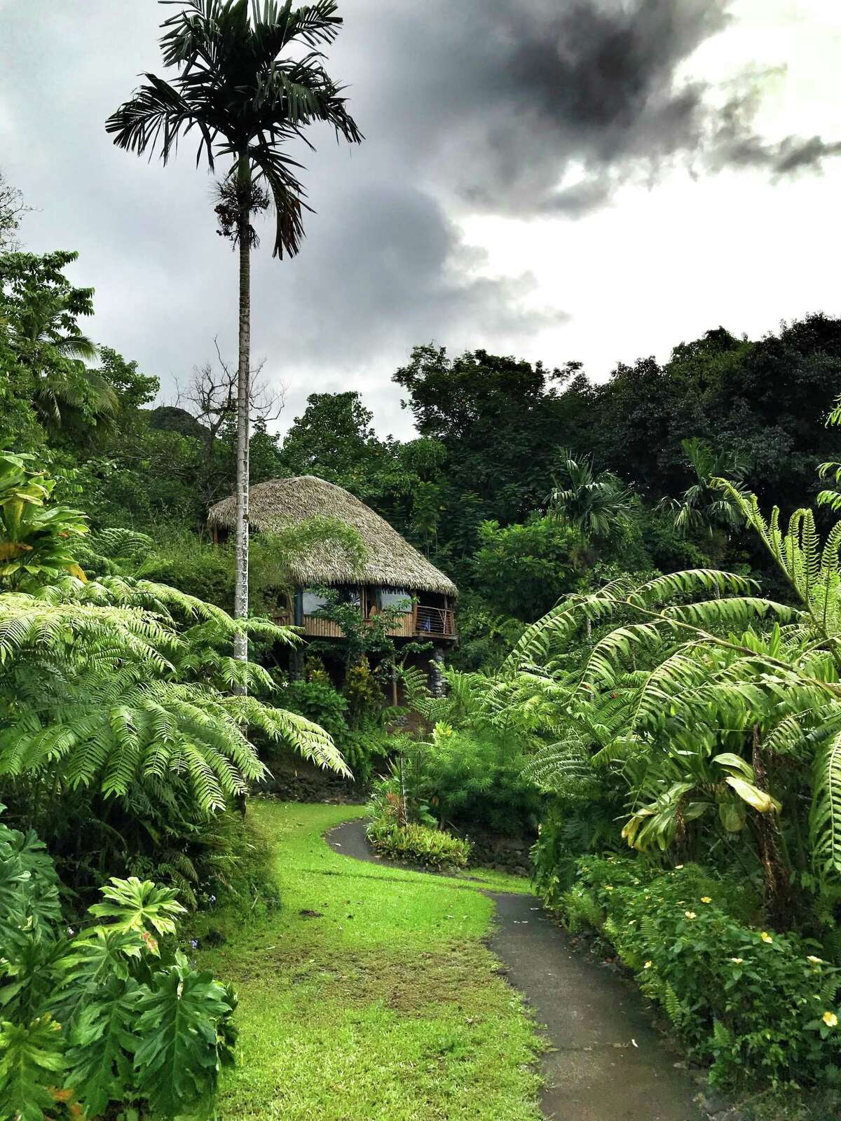 Guests stay in thatched roof huts at Vanira Lodge, Tahiti Iti.