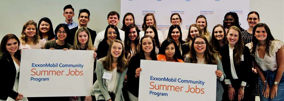The 2019 ExxonMobil Community Summer Jobs Program interns. As part of the program, 30 different nonprofits in the Houston area get to hire an undergraduate student for an 8-week paid internship. Photo: The 2019 ExxonMobil Community Summer Jobs Program