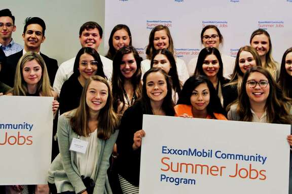 The 2019 ExxonMobil Community Summer Jobs Program interns. As part of the program, 30 different nonprofits in the Houston area get to hire an undergraduate student for an 8-week paid internship.